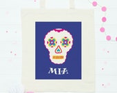 Sugar Skull canvas bag  personalised bag  sugar skull wedding  trick or treat bag  halloween party  mexican party  kids party bags