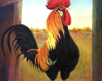 Original Oil Painting Rooster vintage landscape