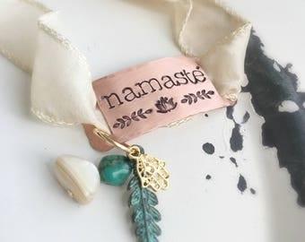 Namaste . Namaste Wrist Wrap . Namaste Wrap Bracelet . Wrap Bracelet . Wrist Wraps . Hamsa . Lotus Flower . Yoga Bracelet . Boho Bracelet