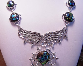 What a Beautiful Dichroic Glass Design Necklace With Wings...Set In 925 Sterling Silver Palladium...ON SALE
