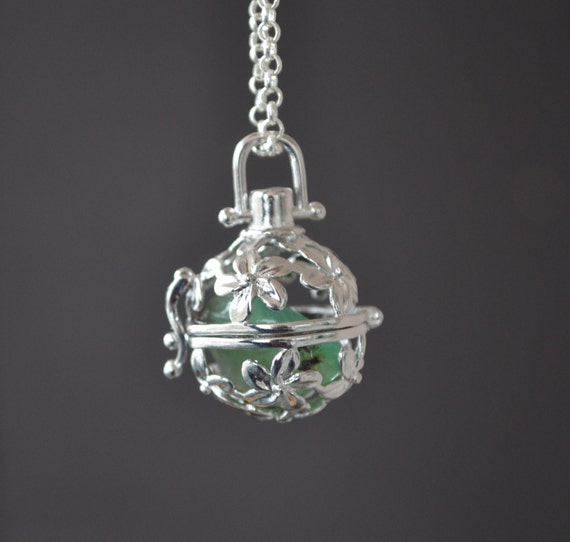 Chrysoprase Necklace, Crystal Cage, Interchangeable, Flower Cage Necklace, Harmony Ball, Crystal Locket, Healing Stones, Spring Jewelry