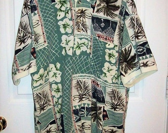Vintage Mens Tropical Print Polo Golf Shirt by St Durand XL Only 9 USD