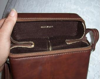 Vintage 1960s Brown Binocular Case w/ Adjustable Shoulder Strap Only 7 USD