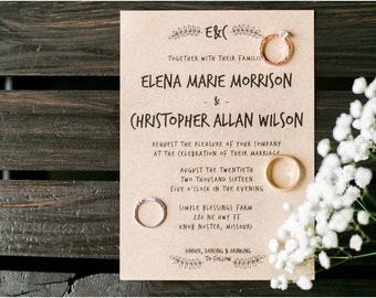 Wedding Invitation, Invitation Printable, Rustic Wedding Invitation, Wedding Stationery, DIY Wedding Invitation, Kraft Paper, Outdoor - #S16