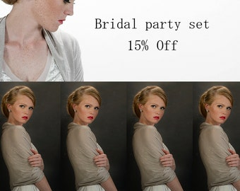 Set Of 5 Wedding Cover Ups, Glittering Loop Shawls, Bride And Bridesmaids wraps. 4 wearing options- shrug, shawl, twisted shawl and a scarf