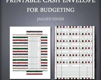 Printable Cash Envelope - Envelope Organizer - Cash Envelope Wallet - Jagged Edges - Petty Cash Envelope - Budget Envelope