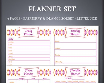Printable Planner Set - Weekly Planner Set - Daily Planner Set - Raspberry and Orange Sorbet - Printable Planner