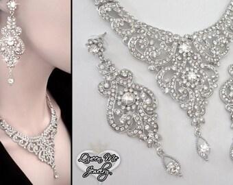 Brides jewelry set ~ Crystal bib necklace and earrings set ~ Statement jewelry set ~ Bib necklace ~ Pageant ~ Bridal Jewelry ~ MARIA