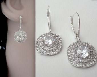 Crystal rhinestone earrings ~ Wedding earrings ~ Square ~ Sparkle and Shine ~ Sterling silver lever backs ~ Brides earrings ~ Gift
