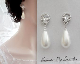 Pearl drop earrings, Sterling silver posts, Elegant, White pearl earrings, Pearl earrings, Brides earrings, High quality, Classic pearl ear~