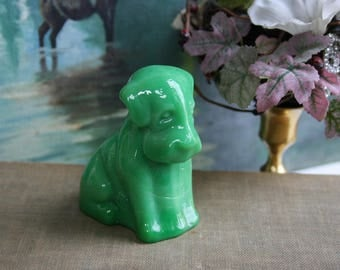Boyd Glass, Pooche Dog Figurine, Green Slag Glass, Collectible Figurine, Dog Lover Gift