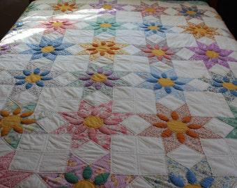 Vintage handmade star flower quilt