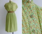 """20% Code """"JINGLE20"""" - Vintage 80's Green Floral Print Cotton Voile Blouson Dress L or XL"""