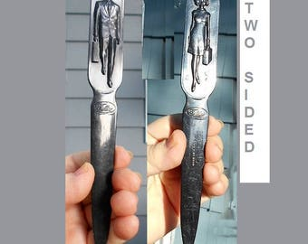 50S  Celluloid Fuller Brush Man Woman Letter Opener Made in USA.  Two Sided Black, One Side Fuller Brush Man, One Side Fuller Brush Woman