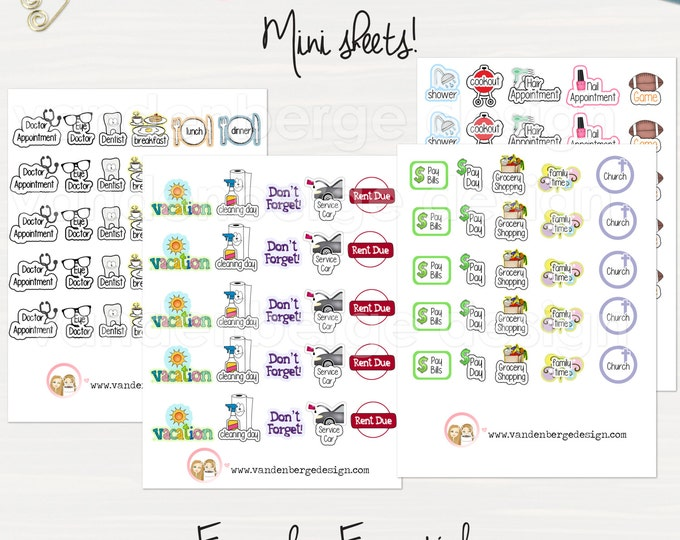 Everyday Essentials Planner Sticker Sheets -Perfect for all planners!