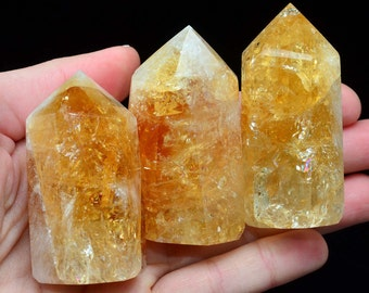 """1 """"Fire & Ice"""" Citrine Generator Point 2.1 - 2.5"""" Tower Gemstone for Crystal Healing Prosperity Stone Energy Jewelry Crafts #CG34"""