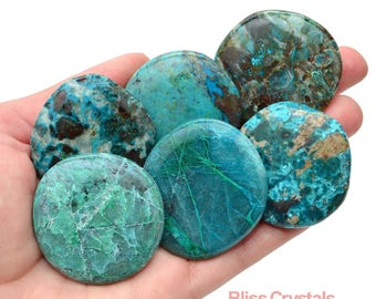 1 CHRYSOCOLLA Palm Stone Flat Smooth Healing Crystal and Stone + Bag for Women's Spirituality Divine Feminine #CR34