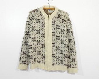 Vintage 50s Pilgrim Sportswear Wool / Mohair Blend Zippered Cardigan Sweater Men's M