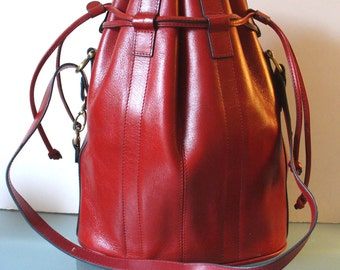Vintage Cherry Red Leather Gigantic Bucket Tote