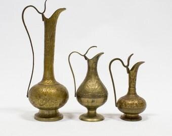 Brass Ewer Vase / Etched Floral Genie Bottles, Set of 3, Vintage Decor