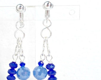Earrings clip on or pierced blue crystals chain handmade by Pat2