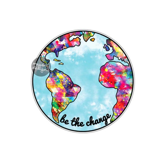 be the change earth sticker colorful planet earth bumper. Black Bedroom Furniture Sets. Home Design Ideas