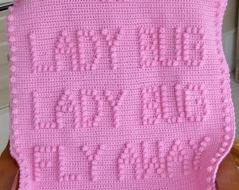 Lady Bug Lady Bug Fly Away Home Crochet Baby Blanket Pattern - Baby Blanket Pattern - Blanket Pattern