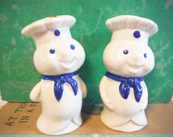Pillsbury doughboy salt and pepper vintage blue and white advertising memorabilia baking bakery decor