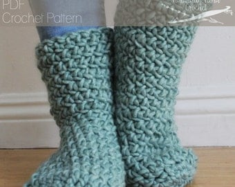 Crochet Pattern: The Samoset Slipper Boots Size Child/Adult Small, Medium, Large soft cozy quick easy gift