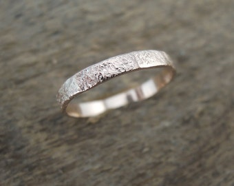 Simple Rustic Relic Band - Raw Rustic Relic Textured Wedding Ring for Her - 3x1mm Solid Gold Yellow Rose White 10K 14K - Sustainable Gold