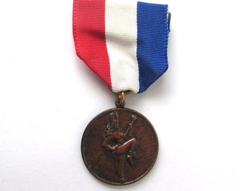 Drum Majorette Medal, 1950s Vintage, Bronze Medal, Sports Medal, Award, School Spirit, Marching Band