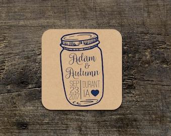 Mason Jar Wedding Coasters, Custom Mason Jar Coasters, Outdoor Wedding Coasters, Custom Paper Coasters, Wedding Favor, Bridal Shower Favors