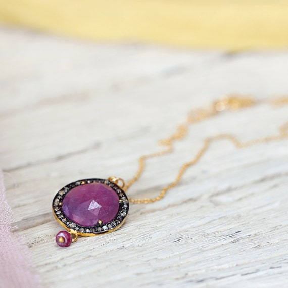 Ruby Necklace - Ruby and Diamond Pave Necklace