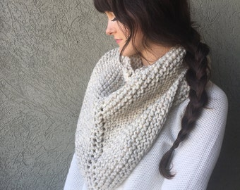 The Findley Scarf / Chunky Knit Triangle Cowl Scarf Shawl  / Knitted Crea Taupe Infinity Neck Warmer / Wool Yarn