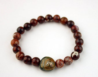 Jasper Bracelet - FREE Shipping in USA- Natural Stretch Bracelet, Breciated Jasper Beads,  Handmade, Stretch, Portland, Oregon 1323