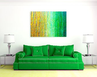 Spring Meadow - Gold & Green Large Abstract Impressionist Painting On Canvas - Large Louise Mead Original Painting In Gold, Yellow, Green