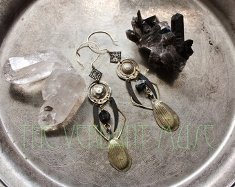Alchemy Collection Witchy Tribal Brass Earrings- Black Tourmaline, Kuchi, and Turkoman Mixed Metal