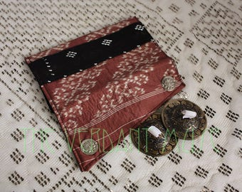 Small Assuit and Ikat Zil Bag- Mehendi Brown and Black Finger Cymbals Pouch