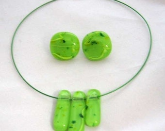 Lime green necklace with matching earrings