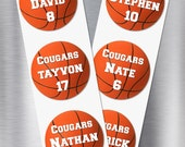 "Stickers ~ Giant 3.5"" Basketball Stickers, Round, Basketball Team Party, Sports Themed Stickers, Kids' Stickers, Print Anything!"