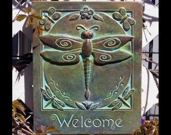 Concrete Dragonfly Welcome Garden Art Plaque