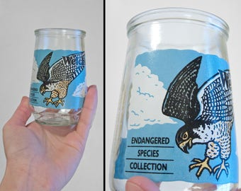 WELCH'S Falcon Glass 1980s Endangered Species Collection Drinking Tumbler Hawk Last Chance Offer