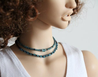 Madhu - short necklace in blue & brown for SD/SD+