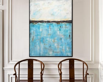 Large oil painting original modern abstract painting blue contemporary art wall art abstract design handpainted big art by L.Beiboer