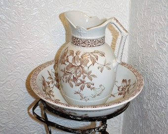 Antique Pitcher & Bowl Brown Transferware Floral Johnson Bros