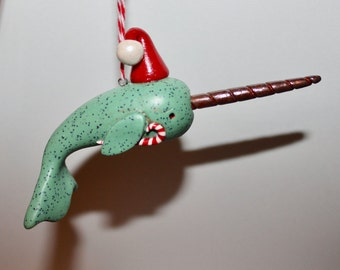 Sea Green Santa NARWHAL Christmas Ornament Ready to Ship
