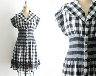 Vintage 1950s Style Black and White Gingham Dress 50s Gingham Dress 50s Checkered Dress Black and White 50s Dress Small Medium Size 6