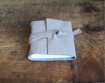 Mini Leather Journal, 3 x 3 Handmade Gray Journal by The Orange Windmill on Etsy 1761