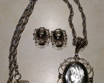 Vintage Whiting and Davis Cameo Necklace Clip Earring Set  Silver Tone Victorian