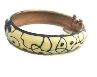Eisenberg Bracelet Artist's Series Eisenberg Jewelry Bangle Bracelet Bangles Ivory Black Hinged Bracelet Enamel Jewelry 1970s Jewelry